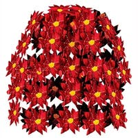 Club Pack of 12 Red and Gold Poinsettia Cascade Christmas Decorations 24""