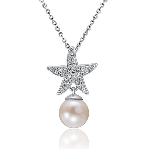 "Starfish Pearl Necklace Sterling Silver Pendant 18"" Chain"