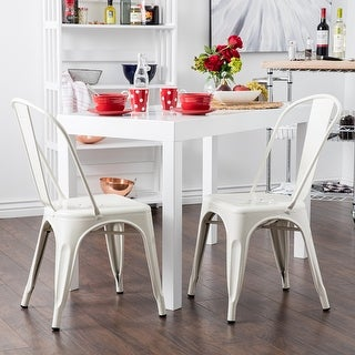 Belleze Set of (4) Vintage Style Dining Chairs Steel High Back Chairs Side Stool (White)