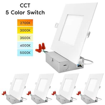 "Luxrite 6"" Square LED Recessed Lighting, Color Temperature Selectable 2700K / 3000K / 3500K / 4000K / 5000K, 4-Pack"