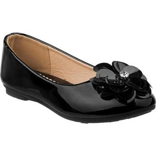 Laura Ashley Girls' LA79134M Ballerina Flat Black Patent PU