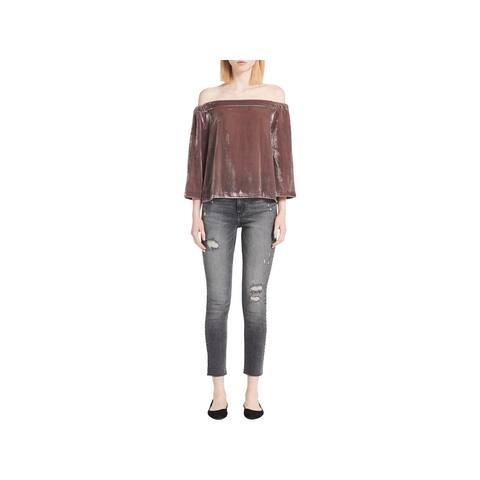 Calvin Klein Jeans Womens Pullover Top Velvet Off-The-Shoulder