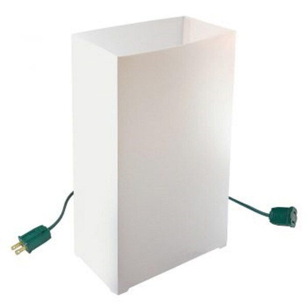 Set of 10 Lighted White Luminaria Pathway Markers - Green Wire