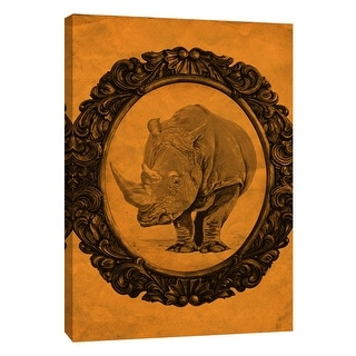 "PTM Images 9-105892  PTM Canvas Collection 10"" x 8"" - ""Framed Rhinoceros in Tangerine"" Giclee Rhinoceroses Art Print on Canvas"