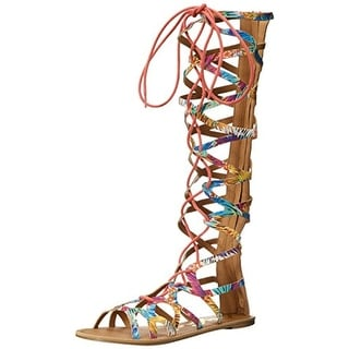 Qupid Womens Athena-902A Canvas Printed Gladiator Sandals - 6 medium (b,m)