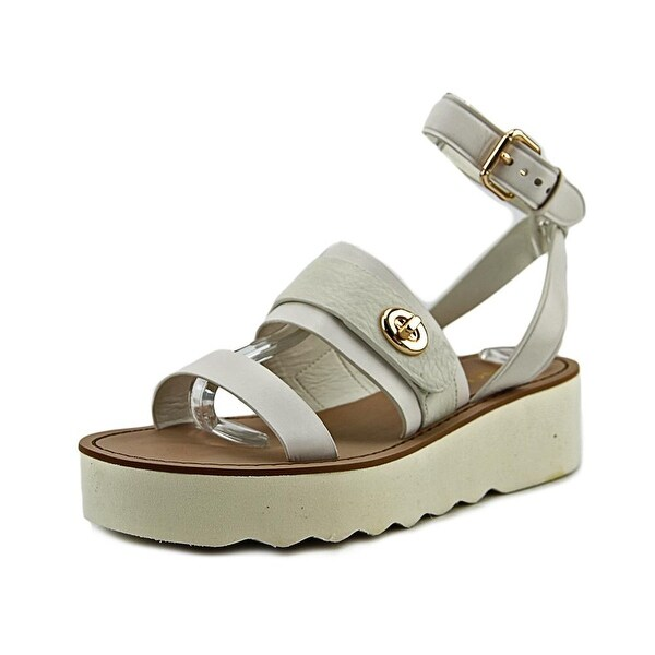 Coach Platt Peb Women  Open Toe Leather Ivory Platform Sandal