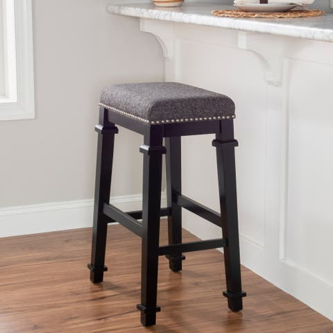 Mayfair Black and White Tweed Backless Bar Stool