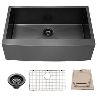 Link to Lordear 30 Inch Matte Black Farmhouse Kitchen Sink Apron Front Sink Stainless Steel Similar Items in Sinks