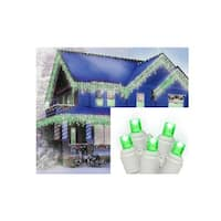 Set of 70 Green LED Wide Angle Icicle Christmas Lights - White Wire