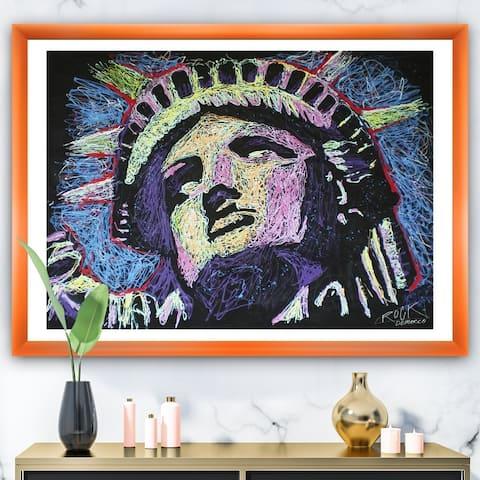 Designart 'Liberty Drip 002' Modern & Contemporary Framed Art Print