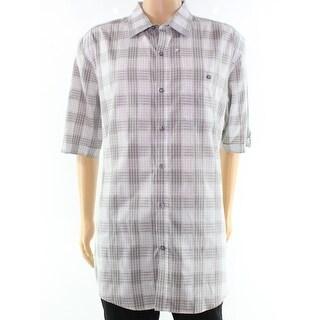 Sean John NEW Gray Plaid Mens Size 3XL Button Down Pocket Shirt