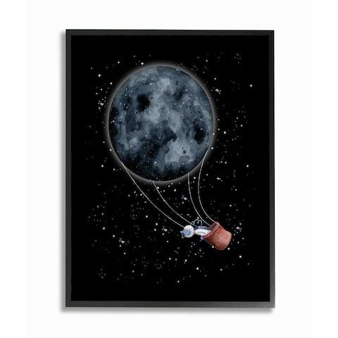 Stupell Industries Outer Space Moon Balloon Astronaut Space Traveler Framed Wall Art - Grey