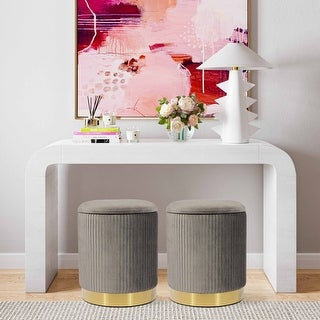 Link to Zoe  Velvet Storage Ottoman Similar Items in Ottomans & Storage Ottomans