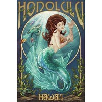 Honolulu, HI - Mermaid - LP Artwork (100% Cotton Towel Absorbent)