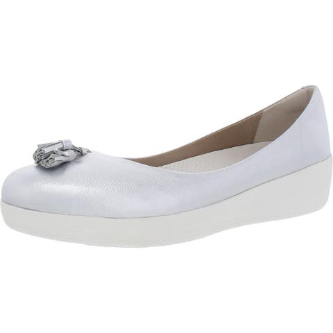 Fitflop Womens Tassel Superballerina Mary Janes Leather Slip On - Silver