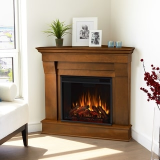 "Link to Chateau Espresso Finish Electric Corner Fireplace - 40.94"" L x 25.28"" W x 37.6""H Similar Items in Fireplaces"