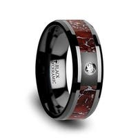 Red Dinosaur Bone Inlaid Black Ceramic Diamond Wedding Band With Beveled Edges