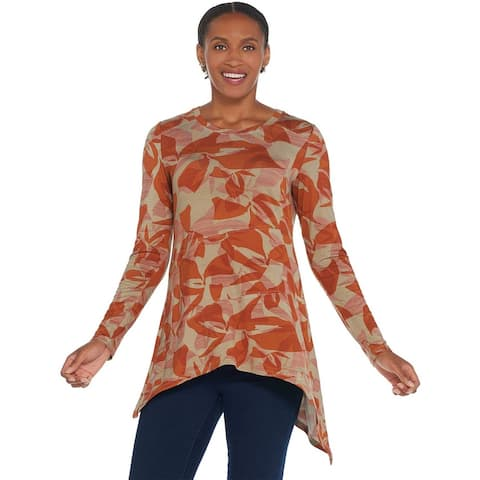 LOGO Lori Goldstein Womens Knit Top Plus 1X Front Detail 1X Orange Clay A343817
