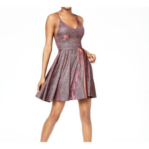 Sequin Hearts A-Line Dress Red Size 0 Junior Strappy-Back Shimmer