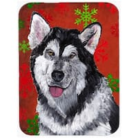 7.75 x 9.25 In. Alaskan Malamute Red Snowflakes Holiday Christmas