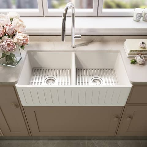 Matte Stone White Reversible Double Basin Kitchen Sink Set & Grids