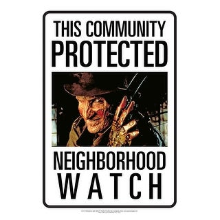 Nightmare on Elm Street Freddy Neighborhood Watch Tin Sign - Multi
