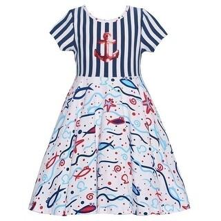 Three Friends Little Girls Navy Red Stripe Fish Print Nautical Dress