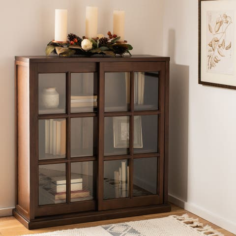 "Safavieh Manchester Walnut Storage Sliding Door Bookshelf - 37.8"" x 11.4"" x 40.2"""