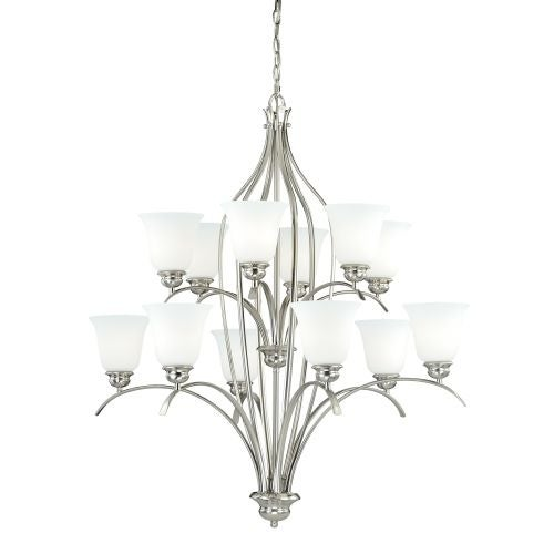 Vaxcel Lighting H0093 Darby 12 Light Two Tier Chandelier with Etched Glass Shades - 36 Inches Wide