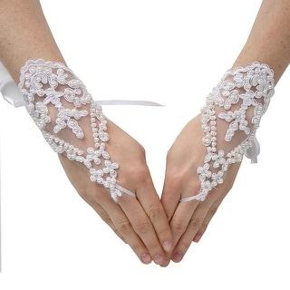 Girls Ivory Pearl Adorned Lace Fingerless Communion Flower Girl Gloves