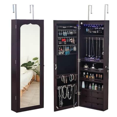 4-Layer Shelf, 2/6 Drawers, 8 Blue LED Lights, Jewelry Storage Mirror Cabinet