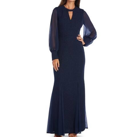 Night way Womens Gown Dress Blue Size 10 Chiffon-Sleeve Glitter Keyhole