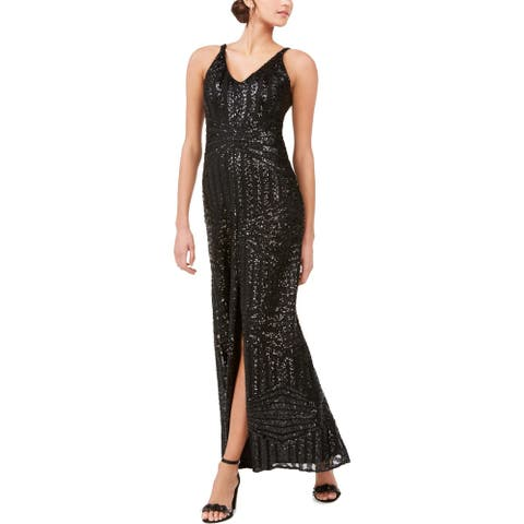 NW Nightway Womens Formal Dress Sequined Double V - Black