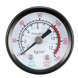 "Pressure Gauge , 0-180 PSI/0-20 BAR Dual Scale 1.4"" Dial Display , 1/8"" NPT"