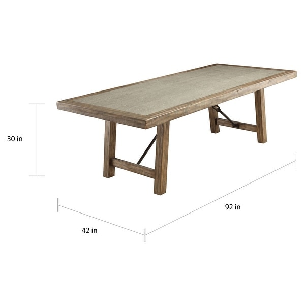 Strick & Bolton Mirella Weathered Elm 92-inch Stone-top Dining Table
