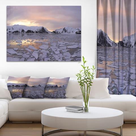Designart 'Antarctic Summer Sunset' Seascape Canvas Art Print