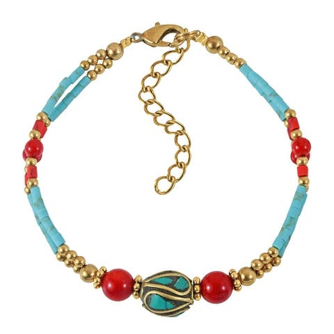 Handmade Vibrant Nature Mix Turquoise and Synthetic Coral Stones Double Strand Brass Bracelet (Thailand)