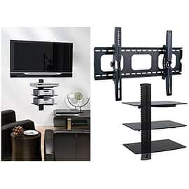 2xhome - TV Wall Mount with 3 Shelves Up to 85 inches TV Floating Shelf with Strengthened Tempered Glass|https://ak1.ostkcdn.com/images/products/is/images/direct/1c9fa29d13c9b9fe0fcc70b8e3c05fd166b97496/2xhome---TV-Wall-Mount-with-3-Shelves-Up-to-85-inches-TV-Floating-Shelf-with-Strengthened-Tempered-Glass.jpg?impolicy=medium