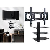 2xhome - TV Wall Mount with 3 Shelves Up to 85 inches TV Floating Shelf with Strengthened Tempered Glass