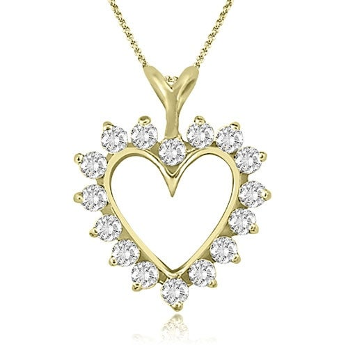0.50 cttw. 14K Yellow Gold Round Cut Diamond Heart Shape Pendant