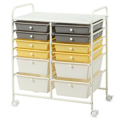 Gymax Office Rolling Cart 12 Storage Drawer Studio Organizer Bins - See Details