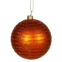 """Burnt Orange Glitter Striped Shatterproof Christmas Ball Ornament 3"""" (75mm)"""