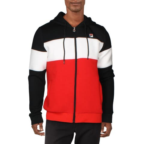 Fila Mens Hugo Hoodie Sweatshirt Fitness - Black/White/Red