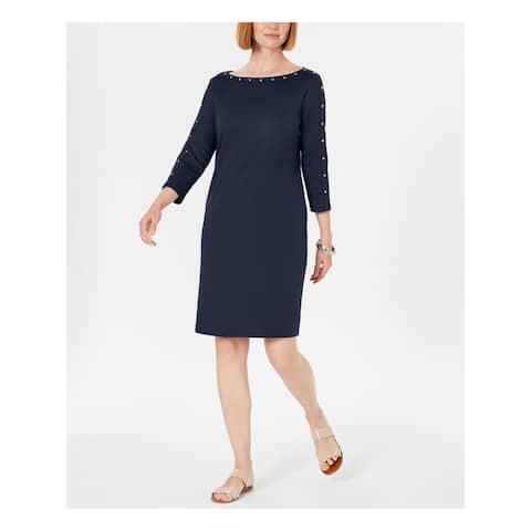 KAREN SCOTT Navy 3/4 Sleeve Above The Knee Dress XS