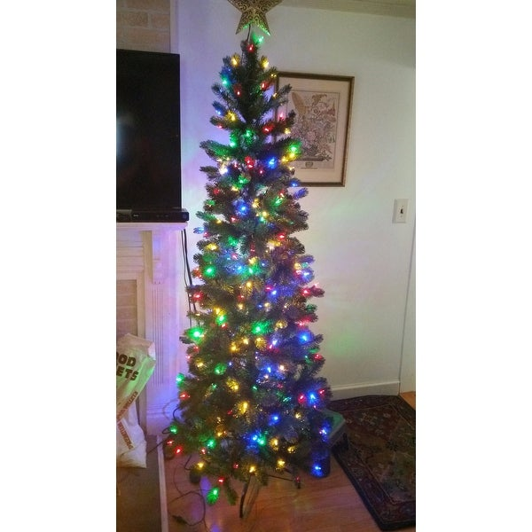 shop 65 ft downswept douglas pencil slim fir tree with dual color led lights on sale free shipping today overstockcom 17202716