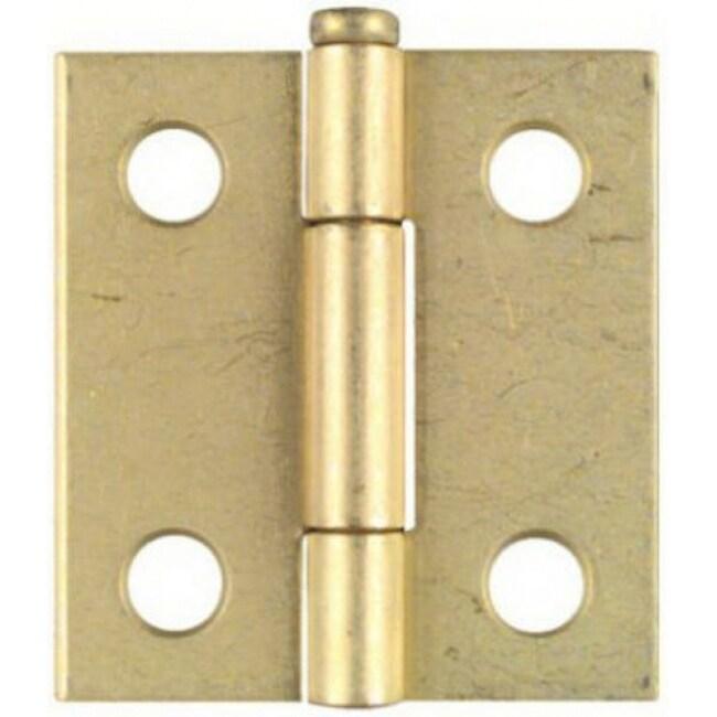 National Hardware N141-754 Light Narrow Hinge, 1.5x1-7/16, Dull Brass, 2-Pack