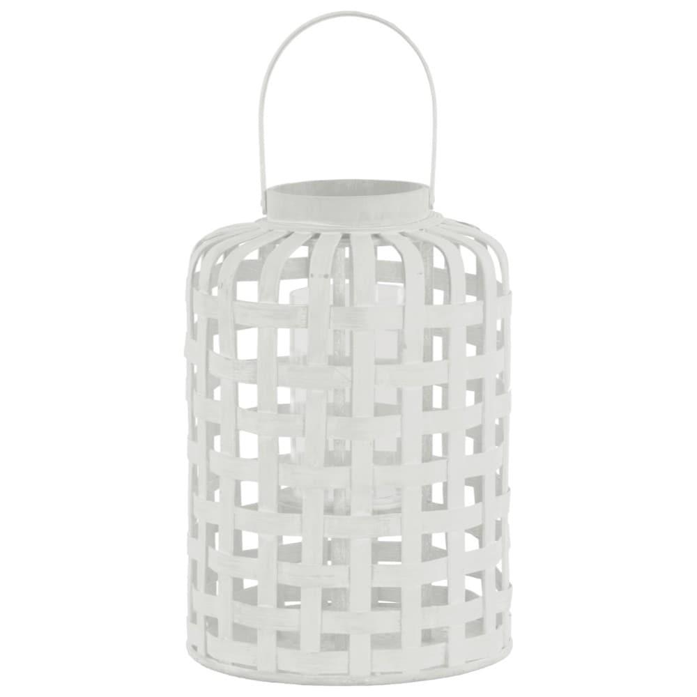 Wood Round Lantern with Lattice Design Body and Handle, White