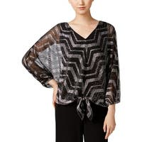 MSK Womens Blouse Metallic Sheer - S