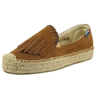 Soludos Platform Espadrille Fringe Women Round Toe Leather Brown Sneakers