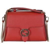 "Gucci 510302 Red Leather Interlocking GG Clasp Convertible Purse Handbag - 10.5"" (at bottom) 9"" (at top)"" x 7.5"" x 3.5"""